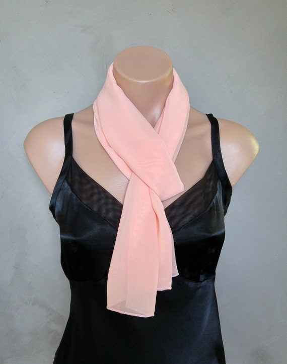 Peach Chiffon Scarf - Perfect Summer Skinny Scarf - 56 inches long by 12 inches wide