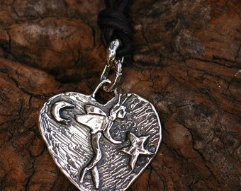 Artisan Fairy Heart Charm in Sterling Silver, Pendant or Necklace, 82d