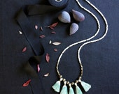 Tassel Necklace, Ombre Fringe Necklace, Single Strand Necklace, Mint Green, Long Beaded Necklace, Czech Glass Beads, Boho Jewelry