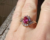 10k Solid Gold Ring with Ruby and signity star CZs