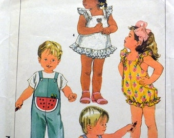 Vintage 80's Sewing Pattern Simplicity 7412 Girls' Jumpers and Rompers, Sundress and Panties Size 1/2 + 1
