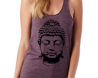 Buddha Ladies Heathered Tank Top Shirt screenprint Alternative Apparel