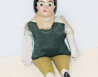 Antique Hand Painted Paper Mache Sawdust Stuffed Doll