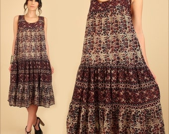 ViNtAgE 70's Indian Cotton Dress Bohemian India Gauze Gauzy Floral Gypsy Cotton HiPPiE Boho Festival Tent Dress Medium M