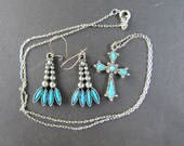 Vintage Native American Style Earrings and Necklace Set - Faux Turquoise, Silver tone - except Sterling Chain