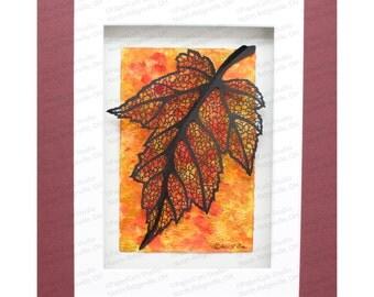 Maple Leaf Paper Sculpture, Hand-cut Original, Watercolor