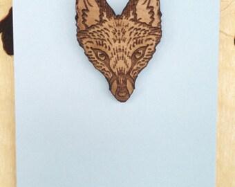 Wood fox pin in alder wood