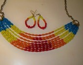 Rainbow Necklace and Earrings with Multi Strands of Blue, Yellow, Orange, & Red Glass Beads Flowing together on Vintage Gold Chain