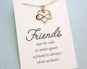 Friendship Necklace | Best Friend  | Infinity Heart Necklace | Infinity Charm Pendant | Best Friend Gift | Sterling Silver or Gold | F04