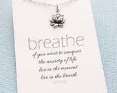 Mantra Necklace | Silver Lotus Necklace, Inspirational, Motivational, Boho, Women Just do It, Botanical | Sterling Silver| Y02