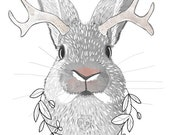 Hello Jackalo- Jackalope canvas art print  Neutral watercolor, Beautifully textured. Order as an 8x10 11x14 or 16x20 size.