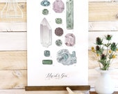 Minerals & Gems - jewels, rock watercolor wall hanging, wood trim art printed on textured cotton canvas. Vintage Science Poster chart Vol.2