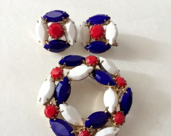 1960's Brooch and Earring Demi-Parure Set Glass Beads in Red White and Blue in Gold Tone Setting