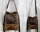 Distressed Leather Fringe Bucket Bag with Leopard Print Hair on Hide by Stacy Leigh