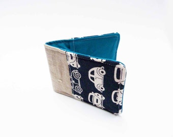 Credit card case, VW Beetle fabric, navy blue and white, cotton card case