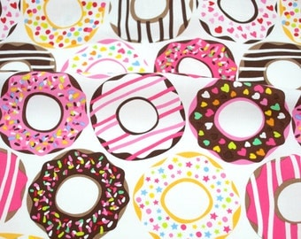 Doughnut Love in White - from Lolly by Maude Asbury for Blend Fabrics - donut fabric by the quarter yard