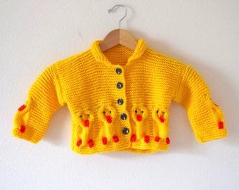 Vintage 80s 90s Little Chickadee Yellow Knit Baby Cardigan