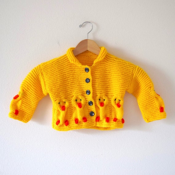 SPRING SALE/ 20% off Vintage 80s 90s Little Chickadee Yellow Knit Baby Cardigan