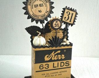 Old-Fashioned Kerr Box Display, General Store Decoration, Canning Kitchen, Milk Bottle Cap, Dresden Trim, Black White Beige