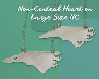 Pick Your Location-- Heart on a Large NC in silver Asheville Wilmington Charlotte Winston-Salem