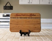 Personalized Cutting board, Custom Engraved Striped Bamboo, Kitchen Decor, Family Name, Housewarming Gift, Newlywed Gift --24507-CBBS-001