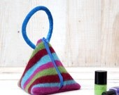Triangle Pouch in  Pink  Blue Burgundy and Green Wool