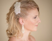 Champagne Crystal Rhinestone Birdcage Blusher Wedding Veil White Ivory and other colors