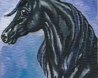 ACEO Black ARABIAN Horse Original Watercolor Painting Miniature Art Card
