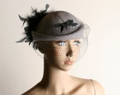 Vintage 1940s Tilt Hat - Lavender Wool Felt Hat with Black Bow Veil and Feathers
