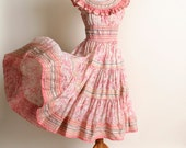 Vintage 1950s Dress - Sheer Pink Floral Ruffle Dancing Senorita Dress - Small Medium