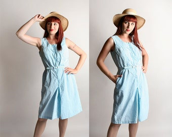 Vintage 1960s Romper - Seersucker Sky Blue and White Striped Culottes Playsuit - Large