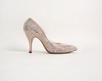 Vintage 1960s Rhinestone Heels - Glamorous Iridescent Cocktail Heels - Size 6 1/2