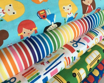Back to School fabric bundle, School fabric, Teacher fabric, School Supplies by Ann Kelle for Robert Kaufman, Bundle of 5- Choose the Cuts