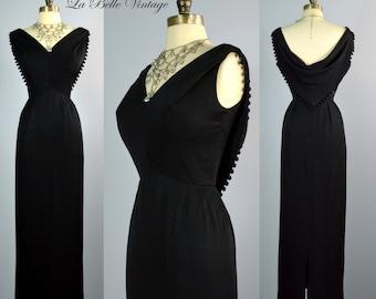 Vintage 1960s Pinup Cocktail Party Dress ~ Plunging Back ~ Caped Shawl ~ Vixen Noir