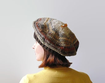 Brown Wool Hand Knit Beret, French Beret, Chunky Knit Tam Hat, Knitted Hat, Womens Hats, Winter Hat, Slouchy Hat, Hand Knit Hat