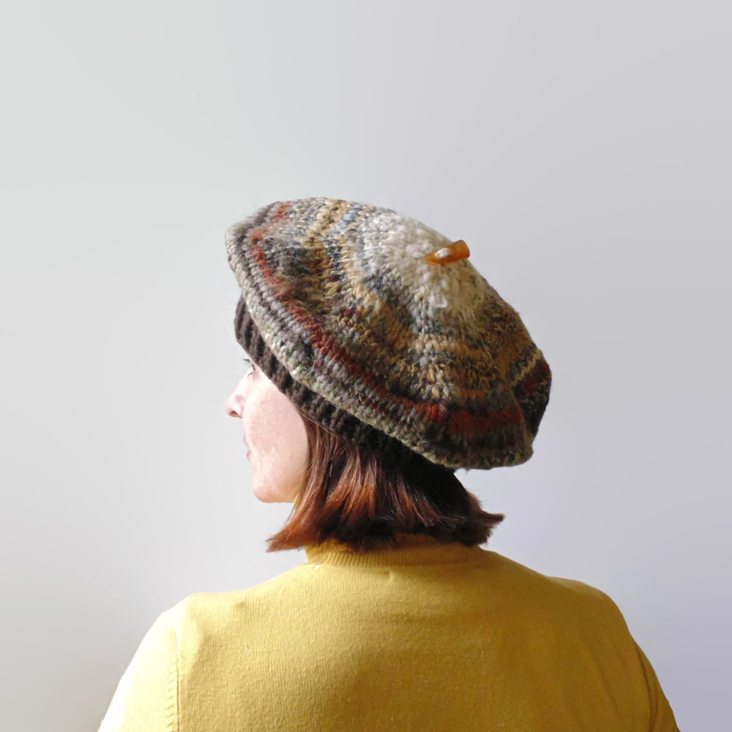 Brown Wool Hand Knit Beret French Beret Chunky Knit Tam Hat