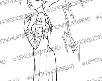 Halloween Bride of Frankenstein Digital Stamp, Digi stamp PNG, Horror, Classic Monsters, Festive Holiday Graphic Image, Instant Download