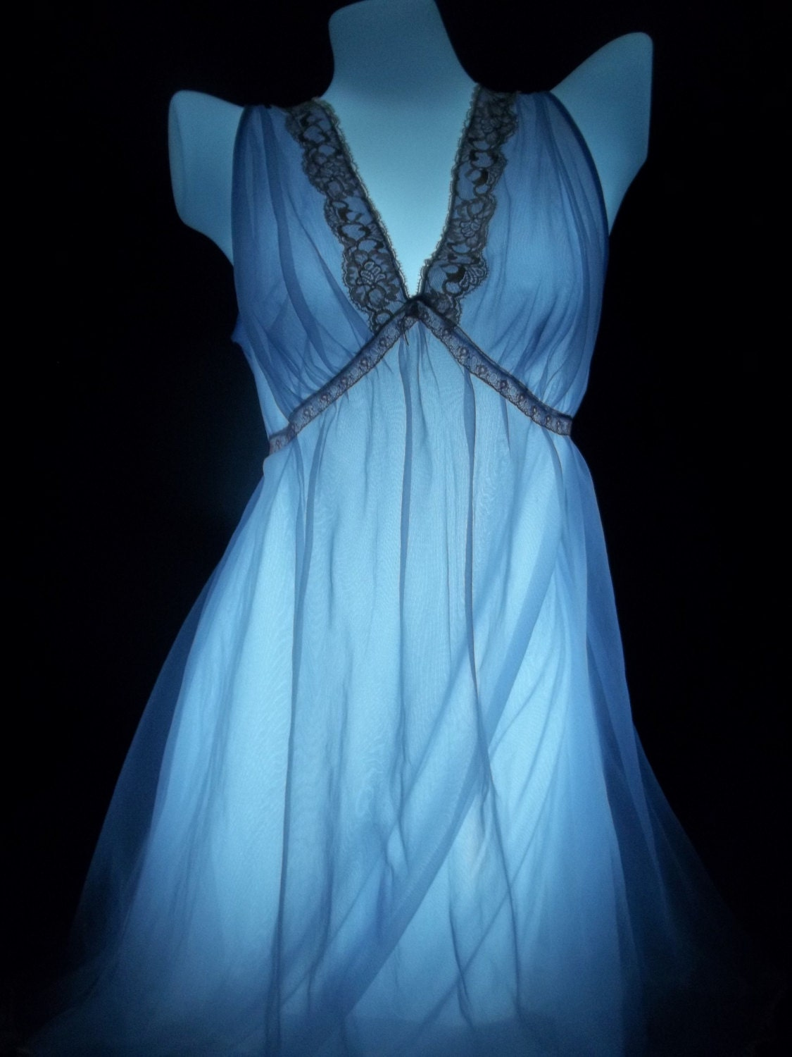 Lisette Double Nylon Chiffon Nightgown Sheer Vintage Gown Size