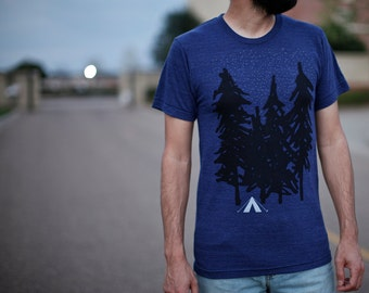 Starry Night men's tshirt - graphic tee men - camping tent screenprint on indigo blue - gift for him - camping shirt by Blackbird Tees