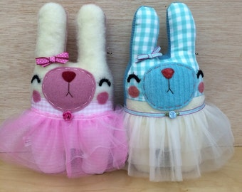 Honey Bunny Ballerina Friendly - Stuffed Plush Needle Felted and Embroidered Art Doll Friend, Felt Bunny Doll, Cute Children's Toy