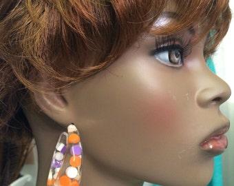 Vintage Plastic Aspirin Pill Polka Dot clear Lucite earrings Confetti Candy Deadstock Orange White Purple