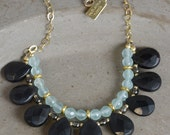 Gemstone Bib Necklace in Onyx