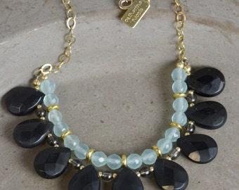 Gemstone Bib Necklace in Onyx