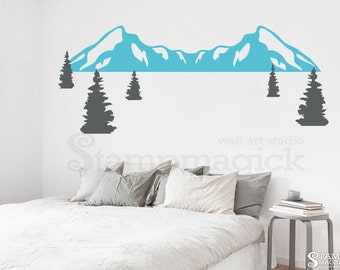 Mountain Wall Decal - Pine Tree Forest Wall Decal - Nursery Snow Mountain Range Vinyl Wall Art Scenery Hill Landscape Decor Sticker K408