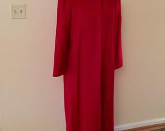 Long Red Coat Winter Wool Vintage 1980s