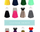 Full skirt with pockets - custom size, length, color for your everyday look, party, bridesmaids in black, navy, pink, tan, mustard yellow