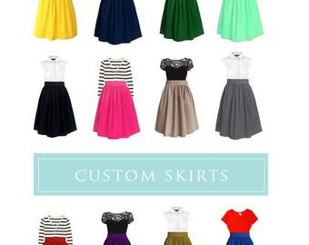 Cotton gathered skirt with pockets - custom high waist skirt in black blue red mustard yellow pink green lavender tan plum navy mint green