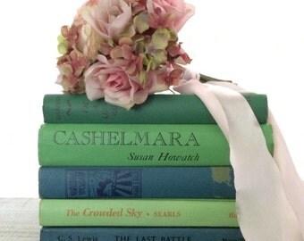 Nursery Book Decor, Pastel books, Baby Shower, Mint Wedding, Seaglass Hues, Aqua , Spring Wedding, Pastel Vintage Books, Bridal Shower