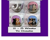 Love Cats On Yarn Bowl Crochet or Knitters Handmade Original Earthenware Clay by Grace M Smith
