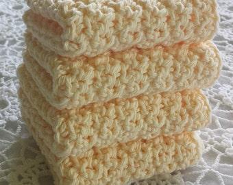 Yellow Dishcloths Crochet Dish Cloths  Dish Rags Washcloths Wash Cloths Face Cloths